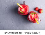 strawberry smoothies in glass... | Shutterstock . vector #448943074