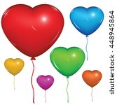 shiny vector heart balloon.... | Shutterstock .eps vector #448945864