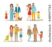 happy family vector set.... | Shutterstock .eps vector #448947763