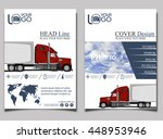 trucking. flyer with red truck. ... | Shutterstock .eps vector #448953946
