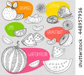 set of stickers in sketch style ... | Shutterstock .eps vector #448957936