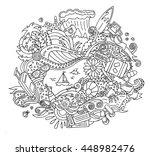 cartoon doodle summer vacation... | Shutterstock . vector #448982476