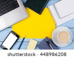 the laptop  phone  coffee ... | Shutterstock . vector #448986208