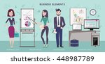 flat vector business meeting... | Shutterstock .eps vector #448987789
