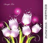 tulips. pink vector background. | Shutterstock .eps vector #448994308