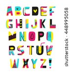 funny colorful summer alphabet. ... | Shutterstock .eps vector #448995058