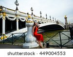 paris woman by eiffel tower.... | Shutterstock . vector #449004553