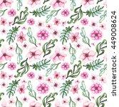 watercolor little pink flowers... | Shutterstock . vector #449008624