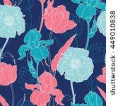 vector night flowers seamless...   Shutterstock .eps vector #449010838