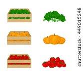 vegetables in wooden boxes... | Shutterstock .eps vector #449015248