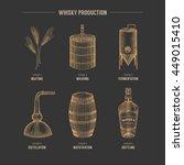 vector hand drawn whisky... | Shutterstock .eps vector #449015410