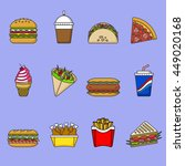 set of fast food icons. drinks  ... | Shutterstock .eps vector #449020168