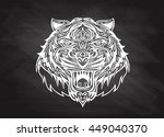 hand drawn tiger head tattoo... | Shutterstock .eps vector #449040370