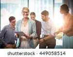 businesswoman holding digital... | Shutterstock . vector #449058514
