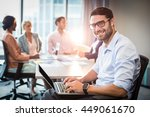 portrait of man using laptop... | Shutterstock . vector #449061670