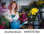 portrait of female florist... | Shutterstock . vector #449070784