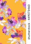 purple watercolor flowers.... | Shutterstock . vector #449073460