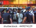 Small photo of NEW YORK CITY - JULY 7 2016: Several thousand activists rallied & marched to protest recent police-involved shootings in Minnesota & Louisiana. Arrest for disorderly conduct.