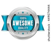 silver awesome quality badge ... | Shutterstock .eps vector #449074444