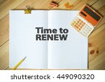 time to renew text on paper in... | Shutterstock . vector #449090320