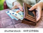 pensioner woman holding in... | Shutterstock . vector #449109886