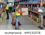 manager looking a worker... | Shutterstock . vector #449131078