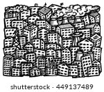 free hand drawn city on white... | Shutterstock . vector #449137489