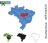 brazil blue low poly map with... | Shutterstock .eps vector #449146414