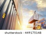 forklift handling container box ... | Shutterstock . vector #449175148