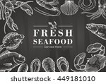hand drawn seafood on a... | Shutterstock .eps vector #449181010