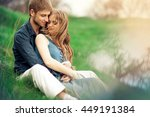 happy smiling young couple in... | Shutterstock . vector #449191384