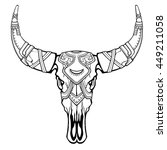 fantastic skull of a bull. ... | Shutterstock .eps vector #449211058