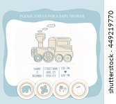 baby boy shower card  vector... | Shutterstock .eps vector #449219770