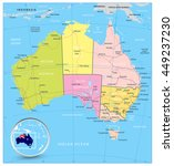 australia detailed political... | Shutterstock .eps vector #449237230
