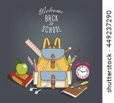 "card ""back to school"". backpack ... | Shutterstock .eps vector #449237290"