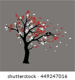 silhouette autumn tree with...   Shutterstock .eps vector #449247016