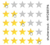 five stars rating. cursor icon. ...