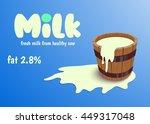 milk in wooden bucket...   Shutterstock .eps vector #449317048