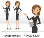 set of three happy business... | Shutterstock .eps vector #449325820