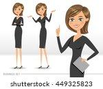 set of three happy business... | Shutterstock .eps vector #449325823