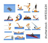 water sport icons set with... | Shutterstock . vector #449331634
