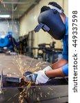 close up of worker cutting... | Shutterstock . vector #449337598