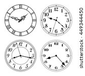 vector clock faces in black and ... | Shutterstock .eps vector #449344450