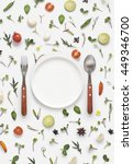 flat lay overhead view cutlery... | Shutterstock . vector #449346700