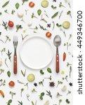 flat lay overhead view cutlery...   Shutterstock . vector #449346700