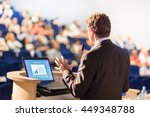 speaker at business conference... | Shutterstock . vector #449348788
