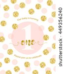 cute baby first birthday card... | Shutterstock .eps vector #449356240