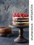 naked chocolate cake with... | Shutterstock . vector #449369254