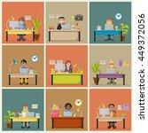 cartoon business people working ... | Shutterstock .eps vector #449372056