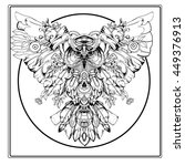 adult coloring book page. owl... | Shutterstock .eps vector #449376913